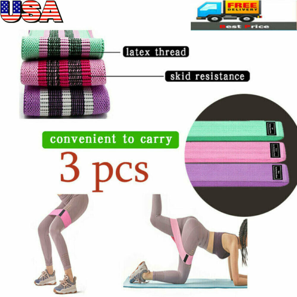 3PCS Resistance Bands Booty Fabric Glutes Hip Circle Leg Squat Yoga Non Slip