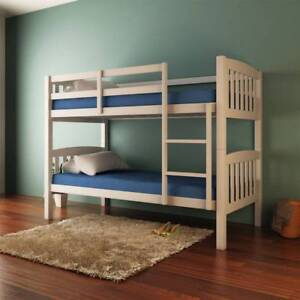 Luxo Dante 2 In 1 Solid Pine Timber Bunk Bed White Beds