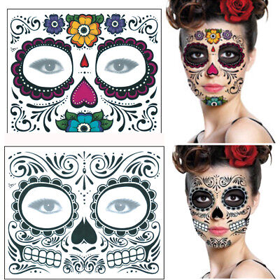 2PCS Halloween Dia de los Muertos Face Mask Sugar Skull Tattoo Design Beauty - Skull Face Tattoo Halloween