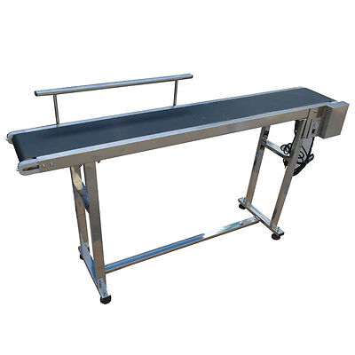 110v Power Rubber Pvc Belt Electric Conveyor Machine With Single Guardrail New