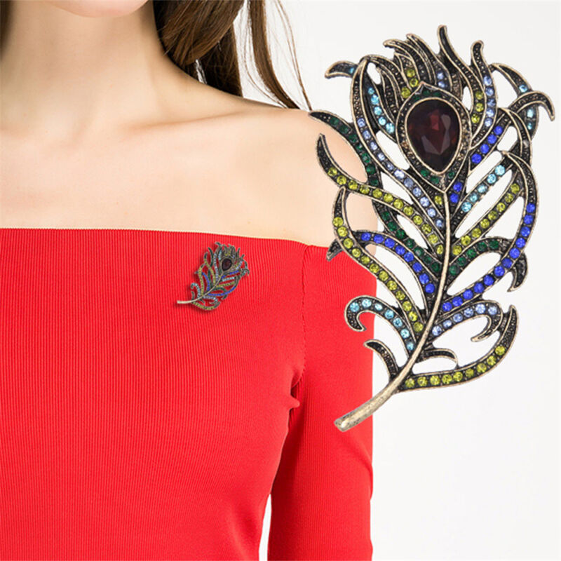 Details about Fashion Crystal Peacock Feathers Brooch Boho Enamel Pins Deep  Blue Brooches