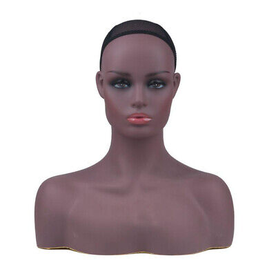 Realistic Black Women Mannequin Head with Bust for Display Hair Wigs Jewelry US