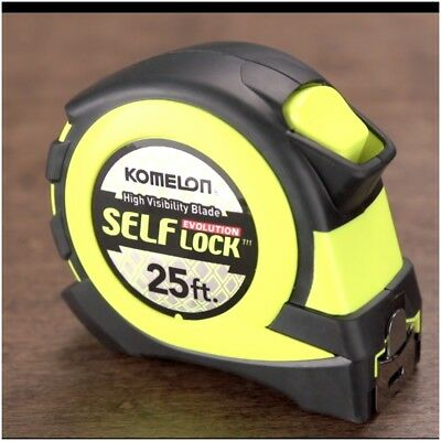 Komelon Self-lock Measuring Tape Nylon Covered Steel Jobsite Tape Measure  25ft - Locking Measuring Tape