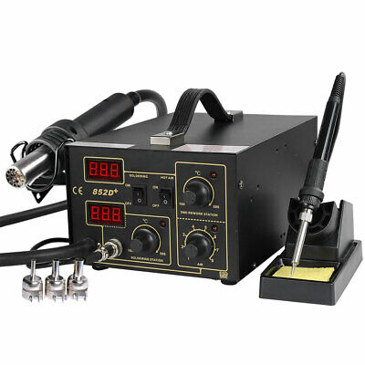 852d 2in1 Soldering Rework Station Iron Hot Air Gun Smd Welder Tool 5tips Esd