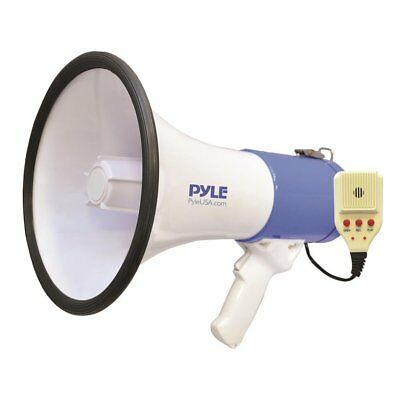 50w Megaphone Pa Speaker Microphone 3600ft Bull Horn Siren Aux In Rechargeable