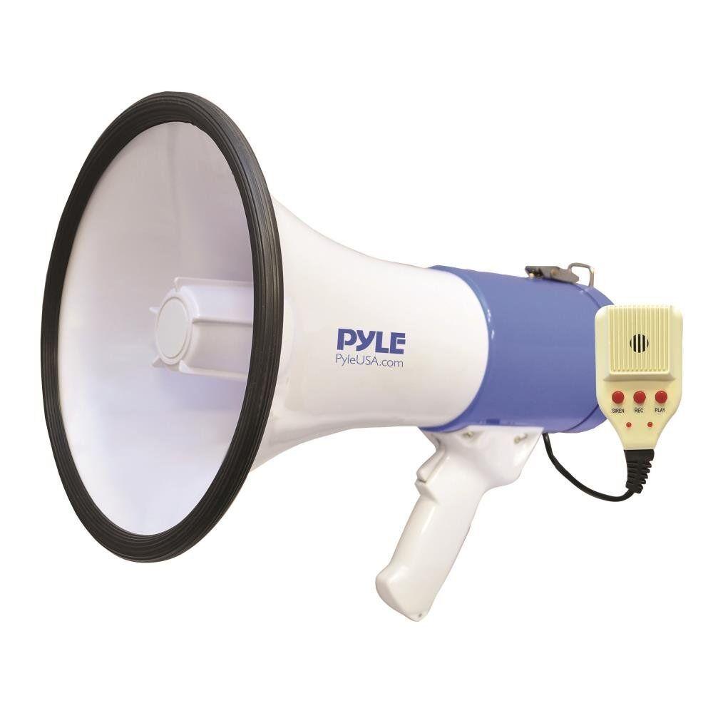 50W Megaphone PA Speaker Microphone 3600Ft Bull Horn Siren A