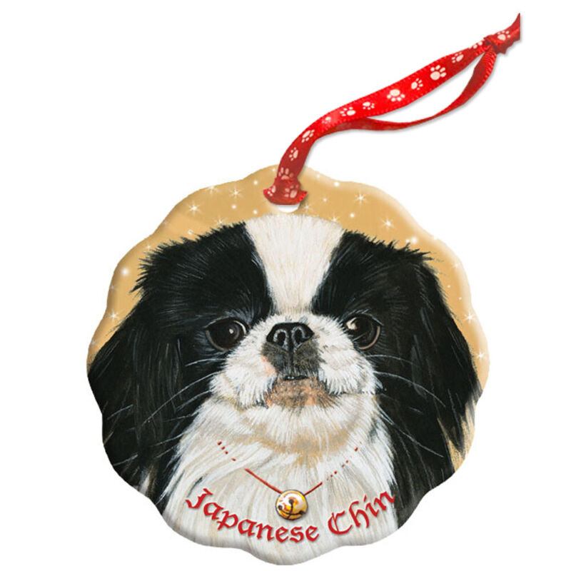 Japanese Chin Holiday Porcelain Christmas Tree Ornament