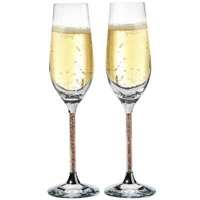 (2) 8 oz. Crystal Champagne Glasses Flutes w/ Gold Colored Crystals Filled Stems