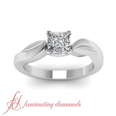 3/4 Carat Solitaire Diamond Engagement Rings With Conflict Free Princess Cut GIA 1