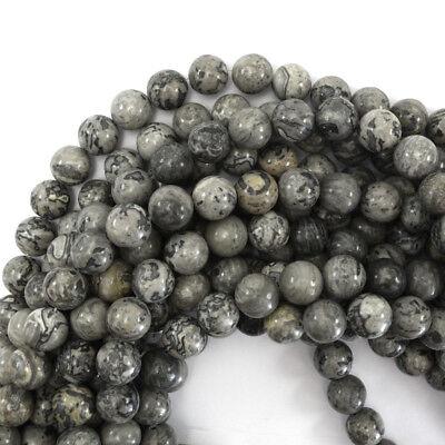 (Gray Leopard Skin Jasper Round Beads Gemstone 15