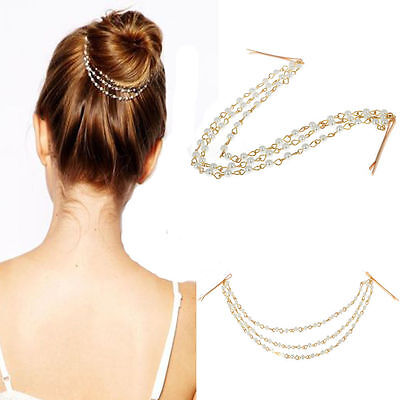 Women Metal Pearl Rhinestone Head Chain Jewelry Headband Head Piece Hair Band