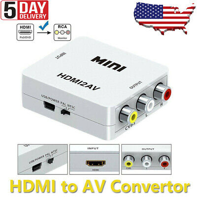 1080p HDMI to RCA Composite AV CVBS 3RCA Video Cable Converter Downscaling USA