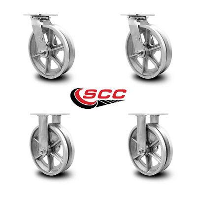 Scc 8 X 2 V Groove Semi Steel Wheels Caster Set Of 4 - 2 Swivel2 Rigid