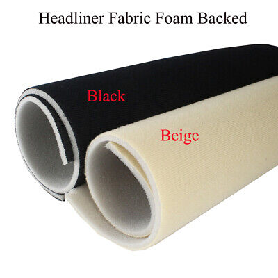 Beige/Black Headliner Fabric Foam Backed Material Replaces Cab/Sunroof/Ceiling