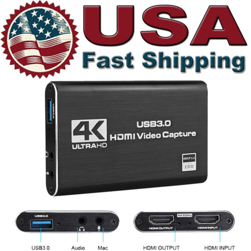 1080P 4K HDMI To USB 3,0 Video Capture Card Game Live Streaming Broadcast W/ Mic