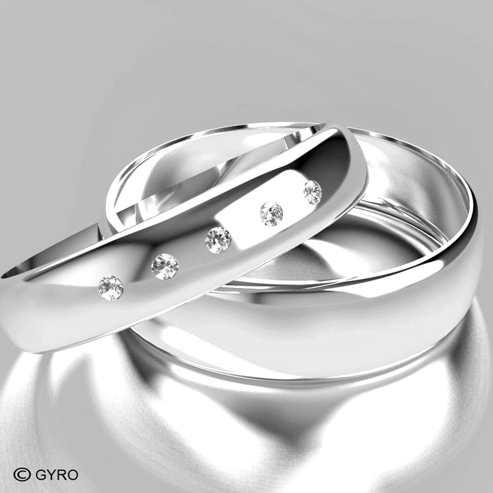 White Gold Diamond Set Band His and Hers set of Wedding Rings hers