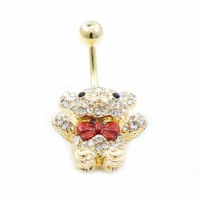 Gold Teddy Bear Belly Button Ring 14G With Clear Jewels