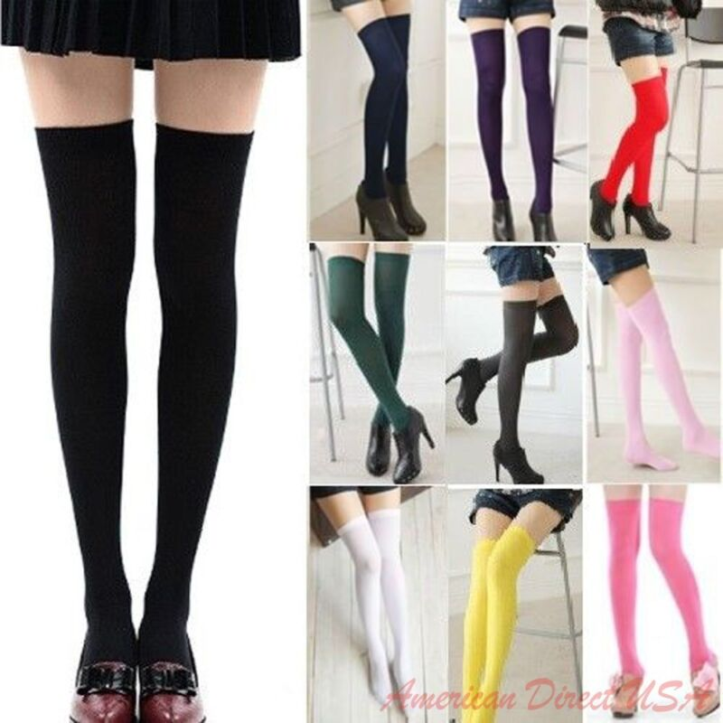 Women Cable Knit Extra Long Boot Socks Over Knee Thigh High School Girl Stocking