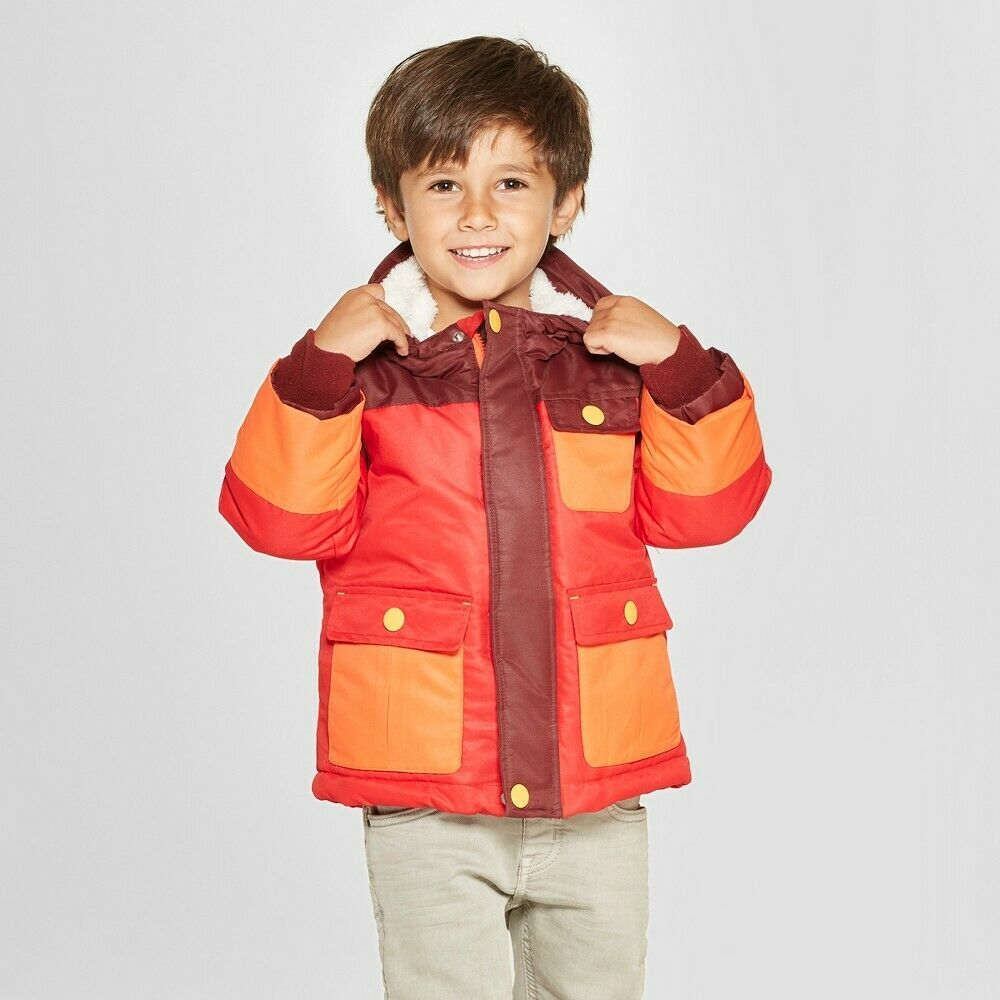 Cat & Jack Boys Toddlers Red Heavyweight Tech Jacket – Size 18m Baby