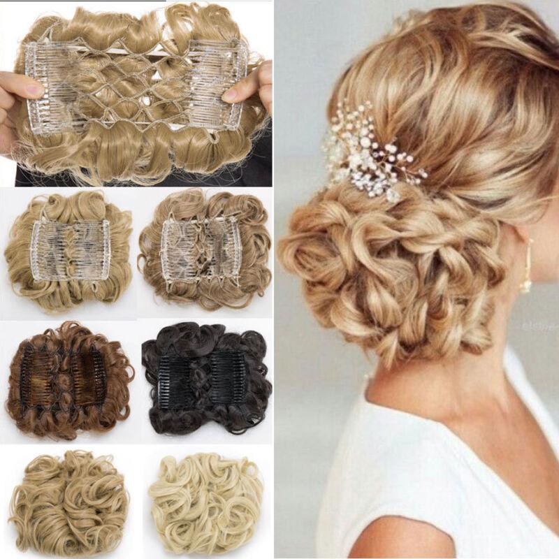 US Sale Women Comb Clip In Curly Hair Piece Chignon Updo Hai