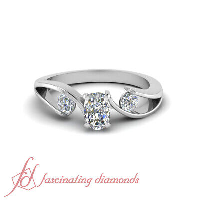 1.5 Carat Cushion And Round Three Diamond Unique Engagement Rings For Her GIA