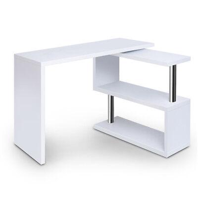 NEW Home Office Computer Rotary Veneer Desk Study Corner Table w/ Bookshelf Whit Veneer Office Corner Desk