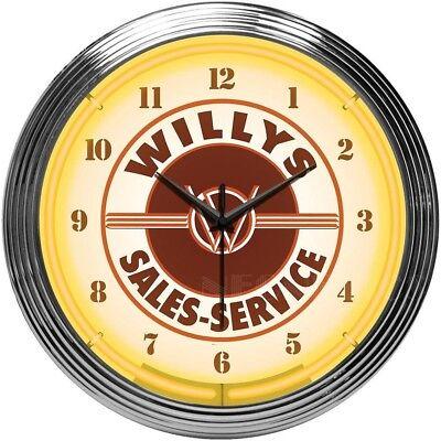 "Jeep Willys Sales Service Neon Clock 15""x15"""