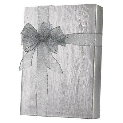 """ METALIZED "" SILVER MOIRE FOIL GIFT WRAP ROLL IN A CUTTER BOX  E 9531."