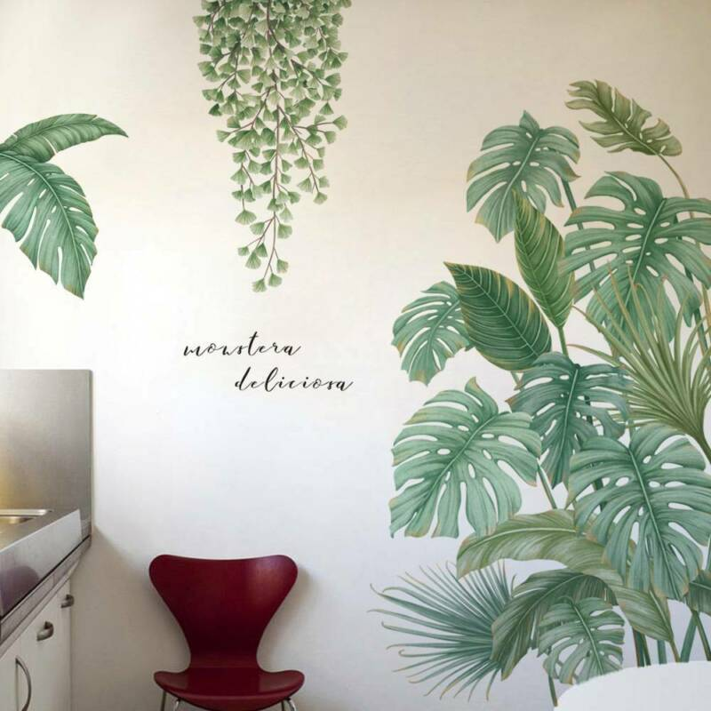 Home Decoration - Home Green Plant Wall Stickers Tropical Leaves PVC Decal Nursery Art Mural Decor