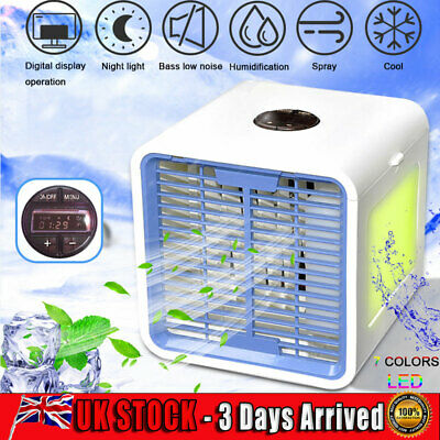 USB Mini Portable Air Conditioner Humidifier Purifier 7 Colors Light 3 Speeds UK