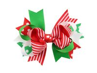 Christmas Bow Hair Clip Hairpin Girls Ribbon Kids Xmas Accessories