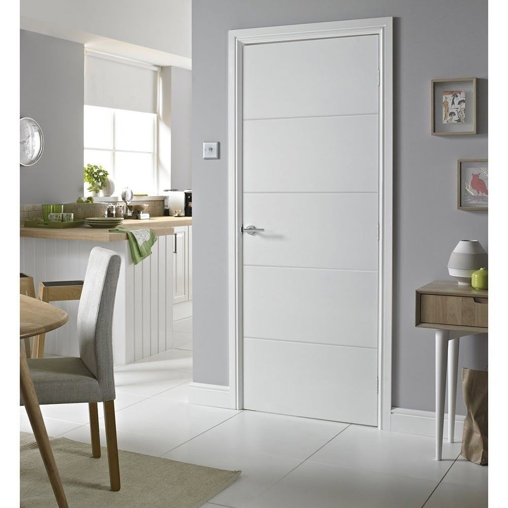 White Internal Door Horizontal 4 Line Moulded Primed White Interior