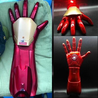 1/1 Avengers Iron Man Tony Stark Gloves LED Light Hand Laser Cosplay Toys New (Iron Man Hands)