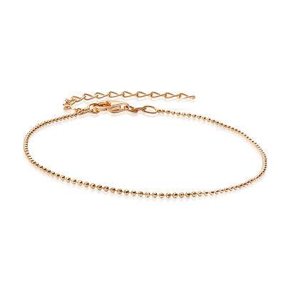 MATERIA Glitzer Armband 1mm Kugelkette Silber 925 vergoldet diamantiert 17-22cm