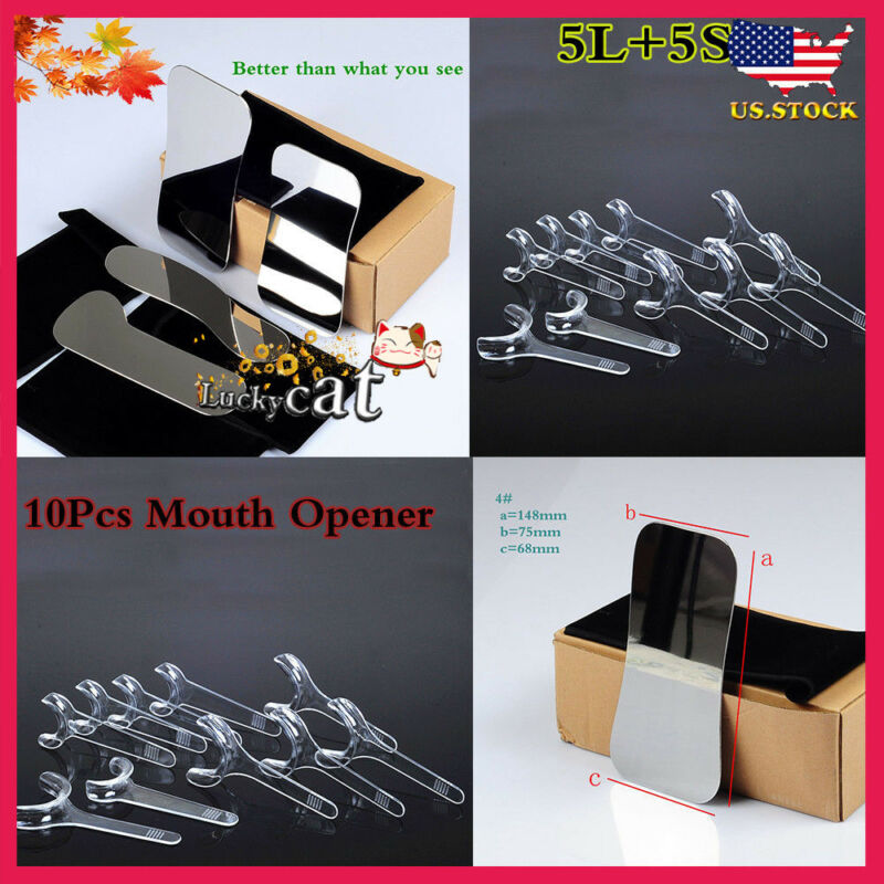 4*Dental Stainless steel Intraoral Clinic Photography Mirror +10Pcs Mouth Opener