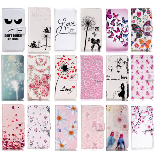 Magnetic Flip Wallet Card Holder Pattern Stand Case Cover Fo