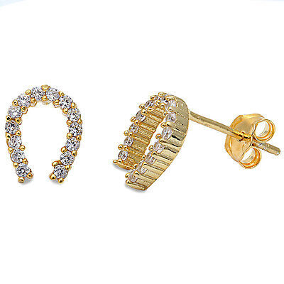 Gold Plated Sterling Silver Horseshoes (Yellow Gold Plated Cz Horse Shoe .925 Sterling Silver Earrings )