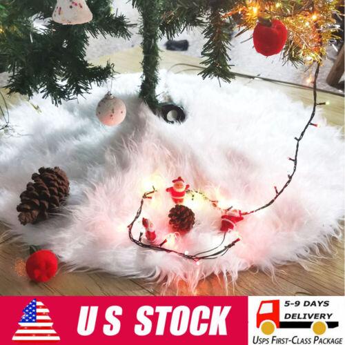 "30"" Christmas Tree Skirt Plush Faux Fur Mat Home Xmas Floor Cover Ornament Holiday & Seasonal Décor"