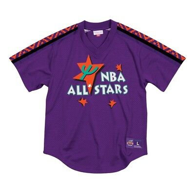 1995 NBA All Star East Mitchell & Ness Men's Pullover V-Neck Mesh Purple Jersey All Star Pullover