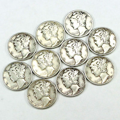 Super Special! - Group Lot of 10 Nice 90% Silver Mercury Dimes!