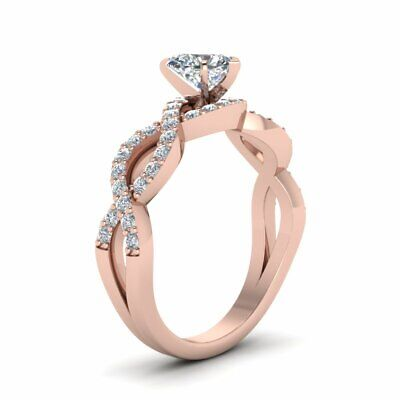 1 Carat Heart Shaped Infinity Pave Diamond Womens Engagement Ring GIA Certified 2