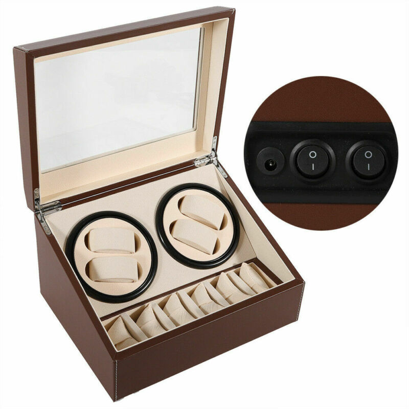 4+6 Slots Automatic Watch Winder Display Box Case Leather Storage Holder 2 motor
