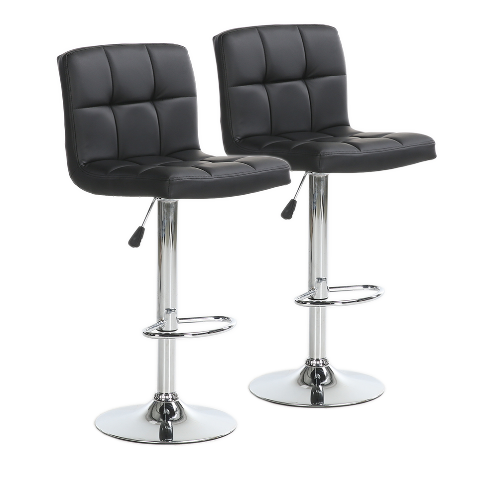 Superb Set Of 2 Bar Stools Leather Adjustable Swivel Pub Counter Height Dining Chair Ncnpc Chair Design For Home Ncnpcorg