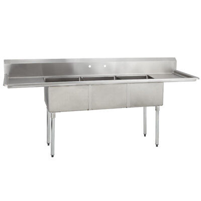 3 Three Compartment Commercial Stainless Steel Sink 90 X 23.8 S
