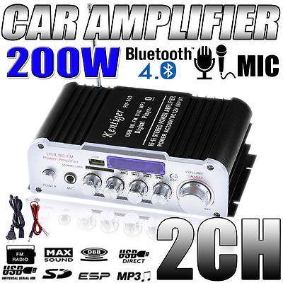 USA 200W Bluetooth 12V Mini MP3 Hi-Fi Stereo Audio Amplifier with USB/SD AUX 2CH