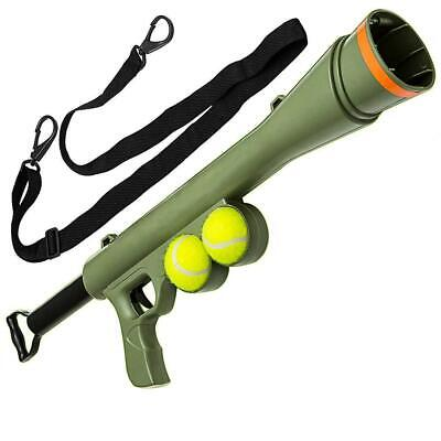 Dog Ball Launcher With 2 Tennis Balls Outdoor Gun Fetch Toy