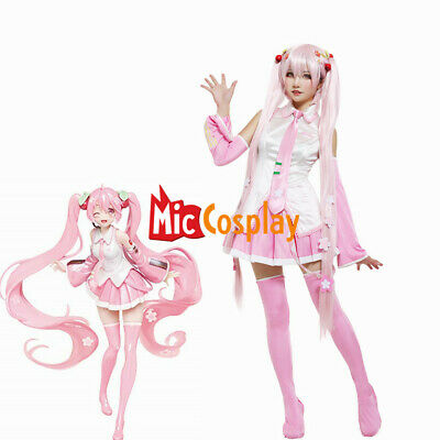 Sakura Miku Hatsune Cosplay Costume with Hair Pins Woman Halloween Outfit - Miku Halloween Cosplay