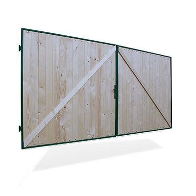 Hoftor Vollholz Doppeltor Holztor 2-flügelig grün 400 x 180 cm