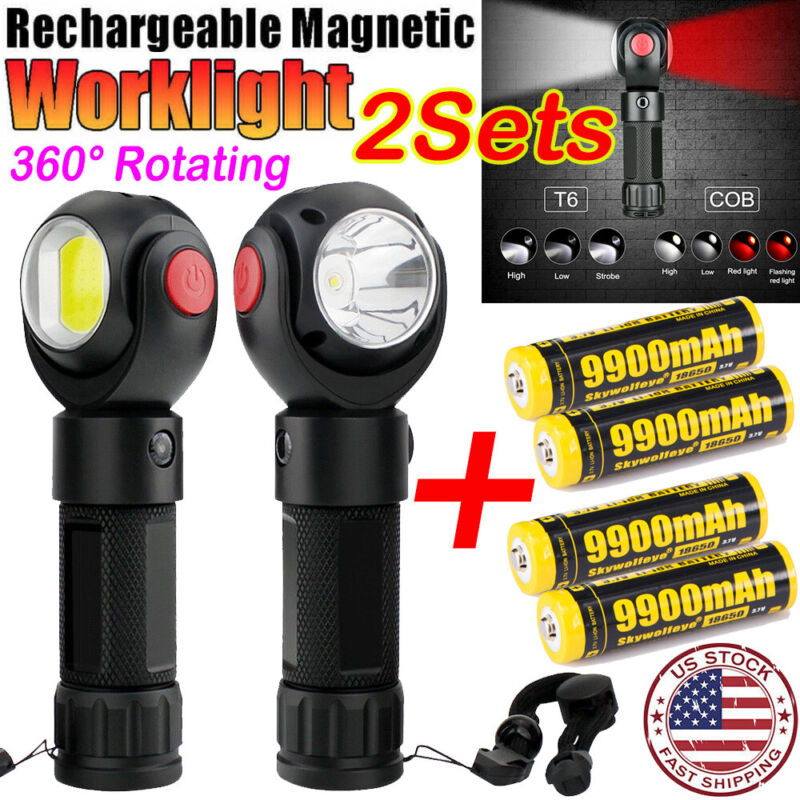 350000Lumens Zoom Flashlight 18650 COB T6 LED Torch Focus Rechargeable Light