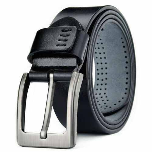 100% Genuine Leather Square Buckle Mens Belts Trouser Sizes Black Jeans Us Stock